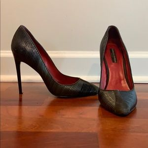 Charles Jourdan dark grey suede and leather pumps